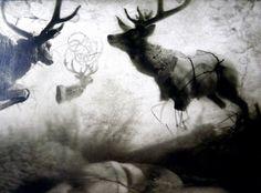 Lars Henkel Mixed media collage, artwork.