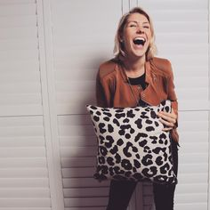 "GABE & NIX on Instagram: ""What Monday blues?! You'd be this happy too if you had our Safari cushion in your hot little hands  #cushions #homewares #homedecor #animalprint #leopardprint #metallic #blackandwhite #interiors #style #pewter #happy #monday #gabeandnix #cushionclique"""