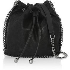Stella McCartney The Falabella faux brushed-leather bucket bag (2.010 RON) ❤ liked on Polyvore featuring bags, handbags, shoulder bags, black, leather shoulder bag, faux leather purses, leather drawstring purse, drawstring purse and leather shoulder handbags
