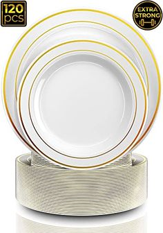"""50 Gold 7/"""" Round Dessert Plastic Plates Appetizer Solid Color 50th Anniversary"""