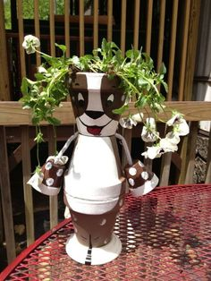 Dog Claypot Garden Art will be the talk of the neighborhood.Sure to bring a smile to all who see him/her.