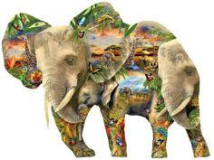 Elephant shaped puzzle (1000 pcs). Just gorgeous!