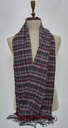 Gray and Claret red Men's Scarf, Gray and Claret red Scarf, Gray and Claret red Men's Scarf, Soft Men's Scarf - SC127 #handmadeatamazon #nazodesign