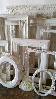Antique White Picture Frame Set Of 12 Open Empty Frames Shabby Chic Wall Decor Empty Picture Frames, Antique Picture Frames, Wedding Picture Frames, Empty Frames, Picture Frame Sets, Frames On Wall, White Frames, Metal Frames, Antique Frames