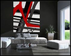 RED AND BLACK Original Modern large Abstract by largeartwork