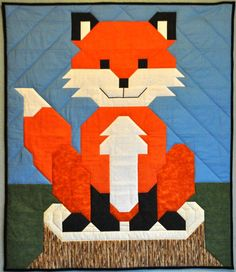 Baby Fox Quilt Pattern (advanced beginner, baby, wall hanging, lap and throw) Quilt Baby, Fox Quilt, Bird Quilt, Crib Quilts, Vogel Quilt, Sea Turtle Quilts, Football Quilt, Mermaid Quilt, Quilt Corners
