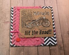 Hit the Road Pink Vintage-Look Motorcycle Note Card - 5.5 inches Square by PaperDahlsLLC on Etsy