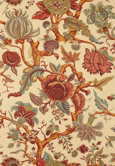 Mandalay Tree in Document by Schumacher - Tree of life design fabric in muted shades or rust, orange, burgundy, aqua and olive on a dark cream background - (Pottery Barn's Cynthia Palampore Duvet Cover looks similar to this fabric: http://www.potterybarn.com/products/cynthia-palampore-duvet-cover-sham-ivory/ )