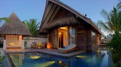 Private plunge pool at the Jumeirah Vittaveli, Bolifushi Island, Maldives.