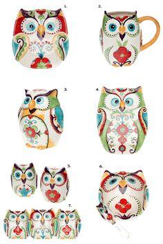 Bella Owl dinnerware from Belk as shown on Owl Barn.