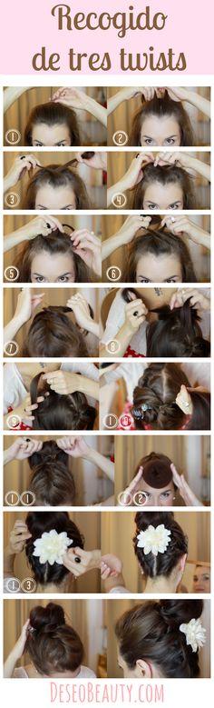 http://www.deseobeauty.com/tutoriales/recogido-facil-de-twists/ Recogido facil paso a paso: Tres Twists - #DeseoBeauty