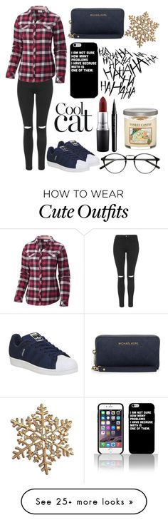 """""""an basic outfit and that shoes  oh and sorry for not posting for a long time  I'm still alive"""" by marijefemke on Polyvore featuring adidas, Topshop, Columbia, MICHAEL Michael Kors, MAC Cosmetics, Marc Jacobs and Yankee Candle"""