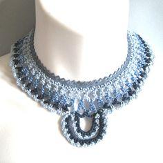 Crochet Necklace Blue Lace and Suede Collar Bib por KnittingGuru