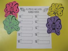 Flutter By & Catch...Number Words  The students will use a clip board and roam the room looking for butterflies.  When the student finds a butterfly, he/she will write the number word written on the butterfly to match the number on the net.