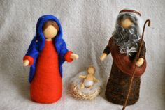 Waldorf inspired needle felted Christmas dolls: Nativity set (Marie,Joseph and Jesus) - MagicWool Noel Christmas, Christmas Crafts, Felt Angel, Joseph, Felt Fairy, Clothespin Dolls, Needle Felted, Felt Birds, Felt Patterns