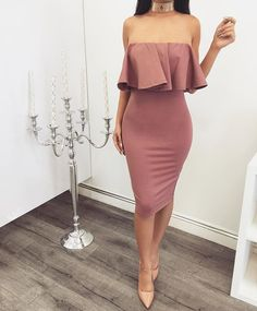 Obsessed with today's arrivals! NEW Mauve Off Shoulder Dress | Also Available In Black ✔️ #zieboutique #newarrivals #mauve