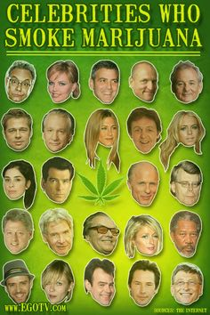 15 Celebrities who smoke marijuana... not 100% sure about all of these but none of them surprise me