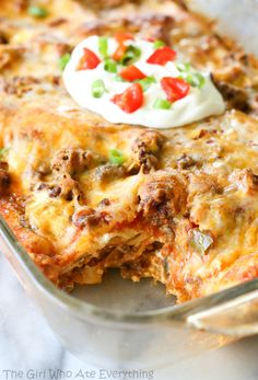 Taco Lasagna I love tacos and I love lasagna, so this has to be amazing! This would be a quick dinner idea even picky kids would love. Plus only 7 ingredients.