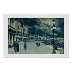 Vintage Venice Italy Royal Garden promenade by moonlight posters and canvases
