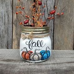 Hand-Painted Fall Pumpkins Mason Jar Berries Not Included | Etsy