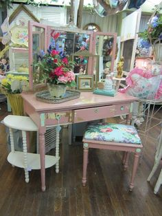 Hand Painted Rosy Pink Vanity Dresser with by rosesnmygarden, $695.00