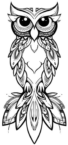 COCO | illustration & design  tribal owl #owl #tribal #zentangle #tattoo #pattern #linework