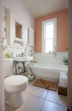1000 images about living with a peachy pink bathroom on for Peach colored bathroom ideas