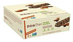 ThinkThin Protein Nut Bar, Dark Chocolate Salted Caramel, 1.41 Ounce bar (pack of 10) by thinkThin
