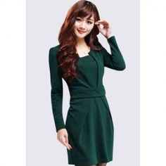 $13.31 Elegant Scoop Neck Faux Twinset Design Long Sleeves Polyester Dress For Women