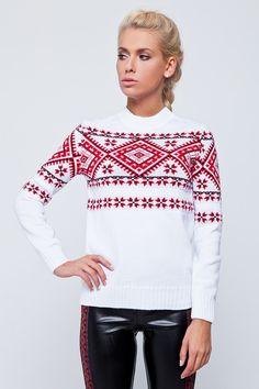 29064c67256 Christmas Sweater Red and White Sweter Stylish Sweater Folk Sweater  Ukrainian Fashion Et. Ukie Style