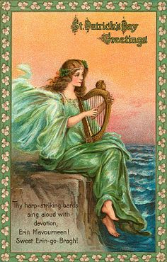 The harp-striking bands sing aloud with devotion, Erin Mavourneen! Sweet Erin go Bragh!