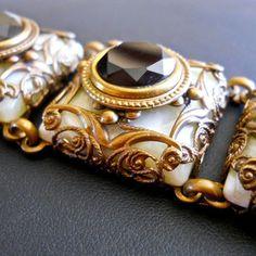 Victorian, Art Nouveau Bracelet, Glass Onyx, Brass Filigree, Heavy...Vintage