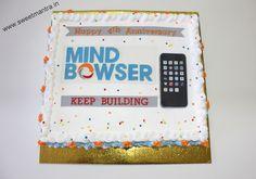 Corporate IT Company Anniversary theme customized fresh cream sheet cake with IT Company Logo at Bavdhan, Pune