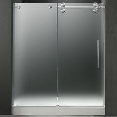 Overstock Vigo frosted glass frameless shower door with stainless