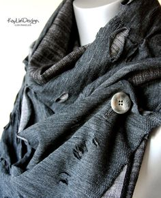 Unisex tattered scarf denim scarf cowl scarf  KA167 by KayLim, $50.00