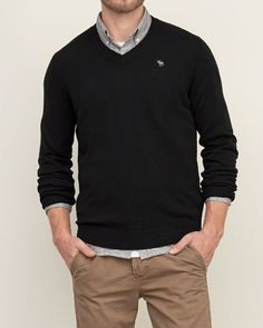 Mens Iconic V Neck Sweater