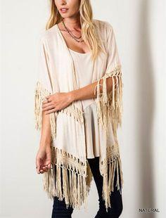 Umgee USA Crochet Fringe KIMONO Boho Hippie 70s Long Open Duster L,XL,1XL  #ClothingBucket #Cardigan #Casual