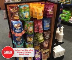 The improper use of free standing displays can lead to a decrease in sales in your store. Avoid this costly mistake and check out these tips on how to properly use free standing displays in any retail store. Pet Store Display, Store Displays, Display Shelves, Pet Food Store, Dog Store, Pet Shop, Cute Pet Names, Store Layout, Pet Fish