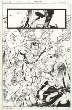 "Batman V Superman from ""Hush""--art by Jim Lee Comic Book Artists, Comic Artist, Comic Books Art, Jim Lee Batman, Batman And Superman, Dc Comics Art, Fun Comics, Vintage Comic Books, Vintage Comics"