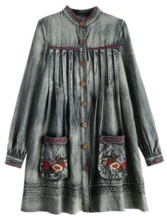 Denim Round Neck Long Sleeve A Line Dress - BLUE L Mobile