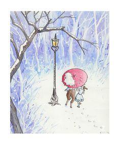 Narnia Lamp Post Nursery Art Print Children's by JaneHeinrichs, $20.00