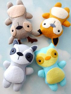 These animal softies are fun and simple to make! They're stitched entirely by hand, using a whip stitch around the felt edges, a running stitch across the arms and legs, and a straight stitch for the muzzle line on the fox, deer and raccoon. The body, head, ears, arms and legs are all together in 1 pattern shape for each softie and are made from scraps of felt. Enlarge or reduce patterns to make the animals different sizes. Safety eyes are used for samples -- other options for the eyes, a...
