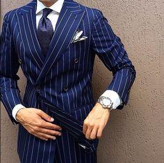 men suits classy -- CLICK VISIT link above for more details Blue Pinstripe Suit, Blue Suit Men, Men's Suits, Cool Suits, Style Costume Homme, Blue And White Style, Best Suits For Men, Suit Combinations, Mode Costume