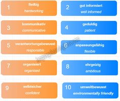 German Descriptive Words to Use in a Job Interview and Resume. Phrases to help you get on in a German office. Descriptive Words, German Language Learning, Words To Use, Learn German, Vocabulary, Resume, Interview, How To Get, Deutsch