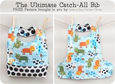 It's the ultimate baby bib! This bib catches everything and un-snaps for easy cleaning. Perfect beginner sewing project.