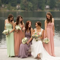 Mismatched bridesmaid dresses are still one of my favorite bridesmaids trends -- especially in different colors like these!