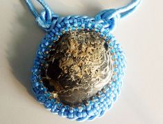 Beads embroidery pendant/necklace   La Mar by IzabelaCichocka