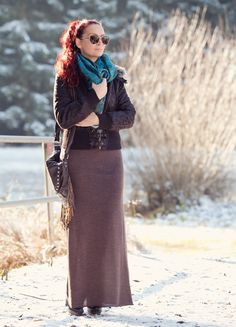 First Winter Outfit with Lined Aviator Jacket, Maxi Skirt,Lace-up Boots and XXL Scarf with Paisley Print