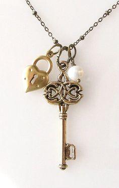 heart lock key necklace