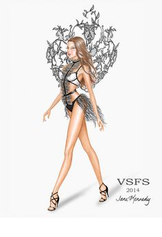 """Angel Ball"" drawing for the Victoria's Secret Fashion Show, 2014. Worn by Lais Ribeiro Illustration by Jane Kennedy www.janelkennedy.com"